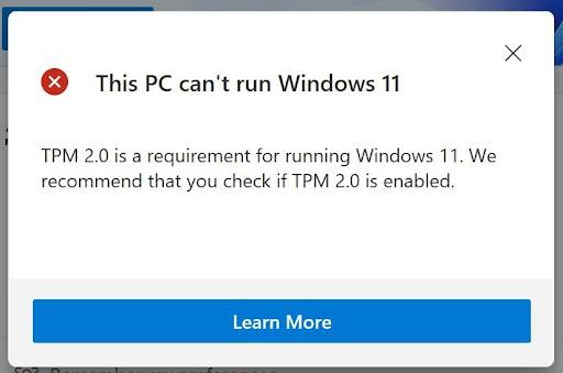 окно Windows 11 указывающее на несовместимость требованиям