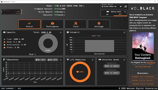 Програмне забезпечення WD Black SN850