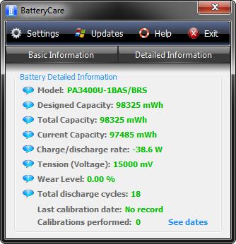 Перевірка зносу батареї за допомогою Battery Care