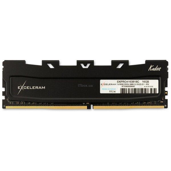 Оперативна пам'ять для ПК DDR4 16GB 3866 MHz Black Kudos PRO eXceleram (EKPRO4163818C)